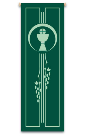 Green Chalice, Host and Grapevine Banner 7130, banners, green banner, banner, pope, john paul II, pope john paul II, PJPII, decoration, church decoration, decor, church decor, wall hangings, sanctuary appointments, appointments