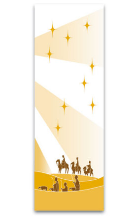 White Three Kings and Shepherd Banner 7129, 7229, banners, church banners, advent, christmas, three kings, christmas banner, white, decoration, church decoration, decor, church decor, wall hangings, sanctuary appointments, appointments
