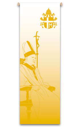 Pope Saint John Paul II 7128, banners, green banner, Eucharist Banner, Host and Chalice, sacrament banner, decoration, church decoration, decor, church decor, wall hangings, sanctuary appointments, appointments