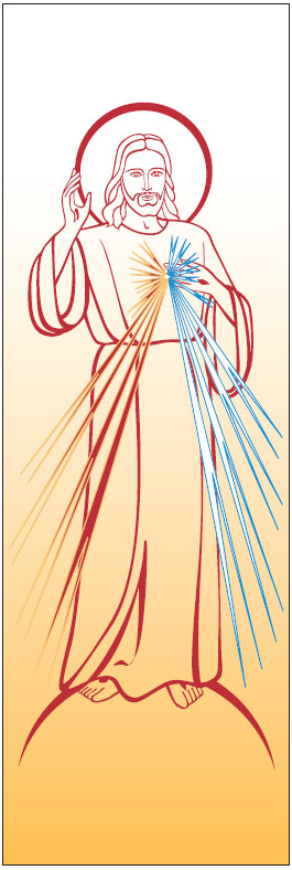 Divine Mercy Banner 7144, Banner, Banners, Divine Mercy, Divince Mercy Banner, decoration, church decoration, decor, church decor, wall hangings, sanctuary appointments, appointments