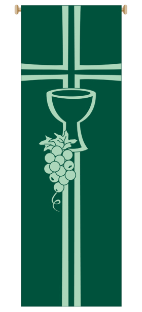 Green Chalice and Grapes Banner 7152,Banner, Banners, Green Banner, Chalice and grapes, First Communion Banner, 1st Communion Banner, sacrament banner, decoration, church decoration, decor, church decor, wall hangings, sanctuary appointments, appointments