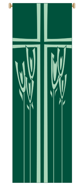 Green Wheat Banner 7153,Banner, Banners, Green Banner, Chalice and grapes, First Communion Banner, 1st Communion Banner, sacrament banner, decoration, church decoration, decor, church decor, wall hangings, sanctuary appointments, appointments