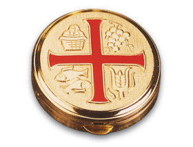 3275 Pyx with Red Cross Pyx, 3275, communion, communion holder, eucharist, wafer box, box