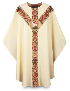 3168 Beige Gothic Chasuble in Dupion Fabric with Lamb Emblem 3168, gothic, vestment, chasuble, orphrey, robe, priest garment, lamb,