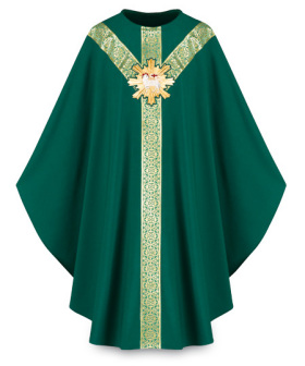 3641 Gothic Chasuble in Green Brugia Fabric with Lamb of God Emblem 3640, slabbinck, vestment, chasuble, robe, priest garment, dress, lamb, lamb of god, green, Brugia, plain neck, galoon, embroidery,