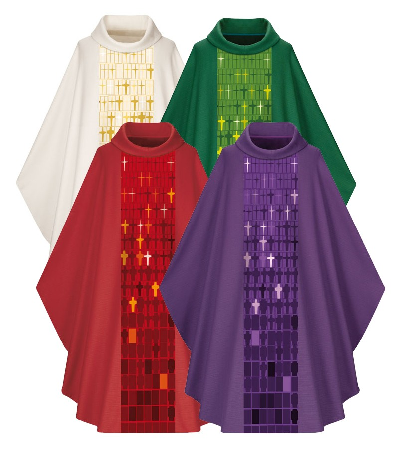 5056 Gothic Chasuble in Dupion Fabric 5056, Chasuble, Slabbinck, Slabbinck®,  vestment,  robe, clergy apparel, cross design