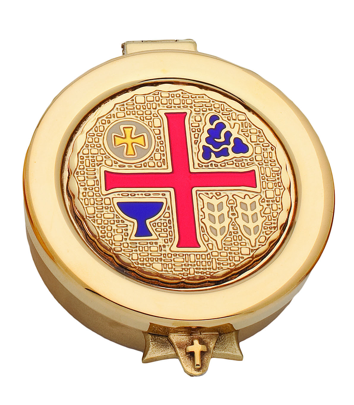 3208G Pyx pyx, sacred vessal, host carrier, alviti creations, 3208g, gold/ enamel pyx, church good, eucharistic minister,