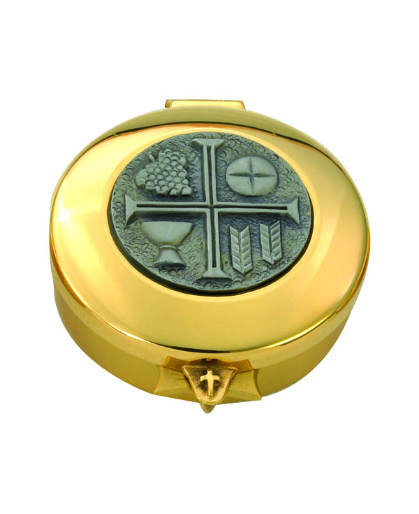 8173G 24Kt Gold Plate Pyx pyx, sacred vessal, host carrier, alviti creations, 8173g, church good, eucharistic minister, 24kt gold plated