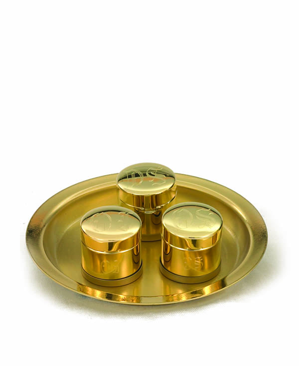 8225G Baptismal Oil Stock Set oil stock, triple oil stock, sacred oil, church goods, church supplies, oil vessal, sacred oil, 8225g, gold plated, baptismal oil, tray and oil,
