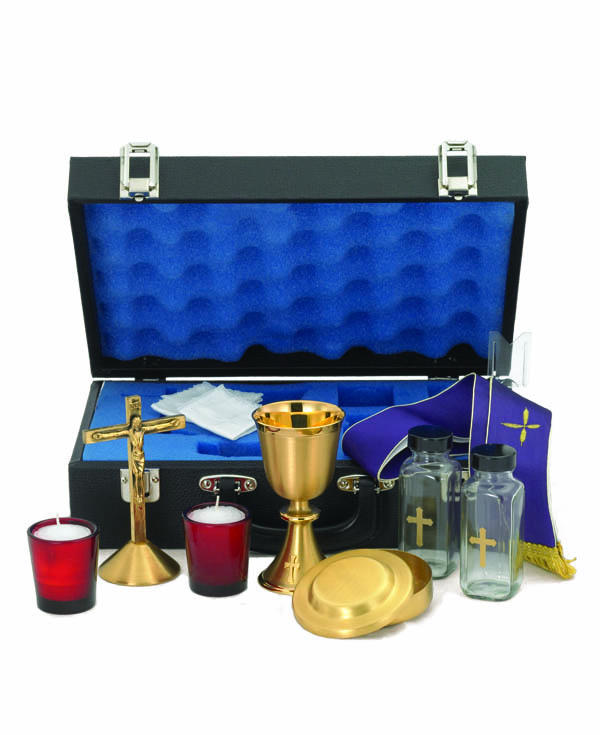 9302G Mass Travel Kit mass kit, alviti creations, candlesticks, cruets, tray, host box, ciboria, carrying case, sacred vessels, church goods, church kits, 9302G
