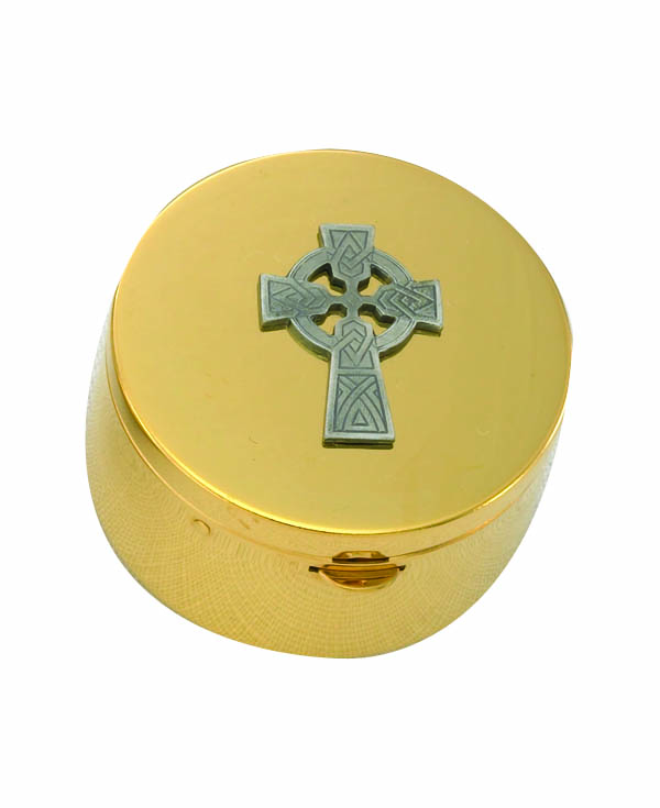 9848G Pyx pyx, sacred vessal, host carrier, alviti creations, 9848g, church good, eucharistic minister,celtic cross,