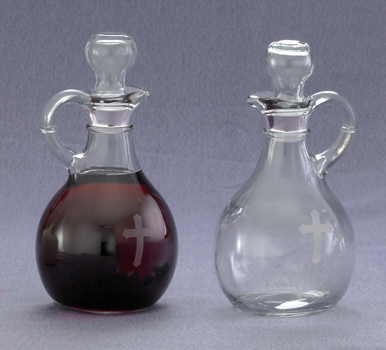 CB-7 Cruet Set  cruet set, cruet bottles, cruet caps, sacred vessals, church goods, CB-7, glass set,