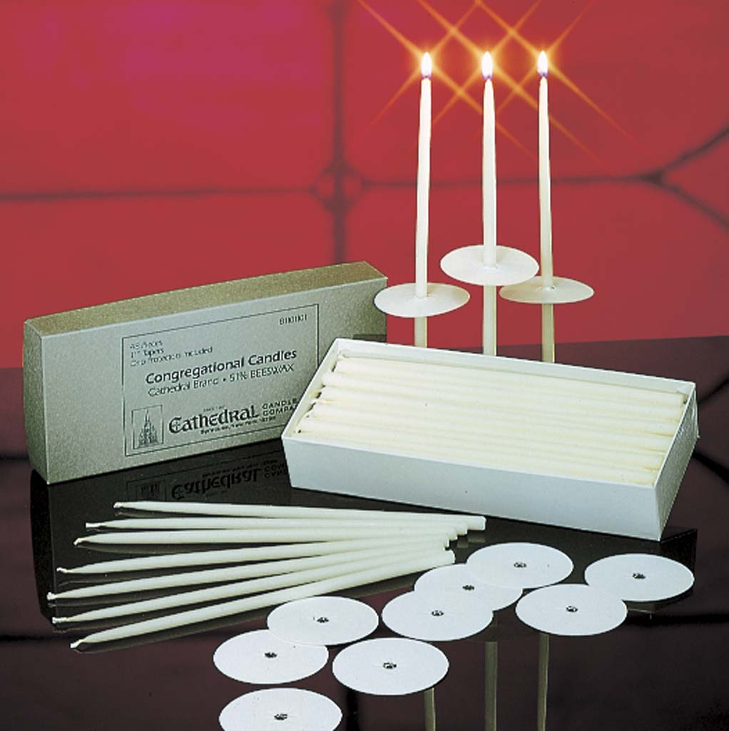 Congregational Taper Candles Congregational Taper Candles, 51% Beeswax, Stearine, 81101101,81101501,81103801,81102401,81104401