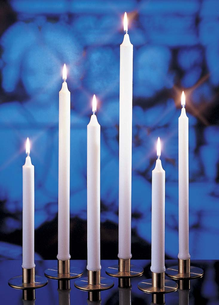 25/32 X 4 3/4 Stearine Brand White Molded Candle 25/32 X 4 3/4 Stearine Altar Candle,30012106