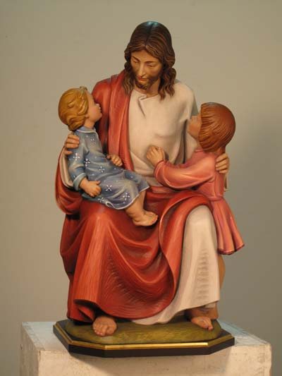 Jesus with Two Children Statue