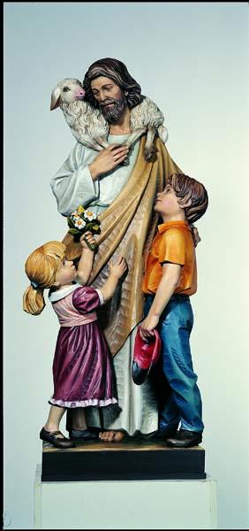 Good Shepherd with Children Statue