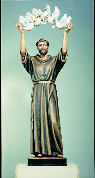St. Francis of Assisi with Arch of Doves Statue