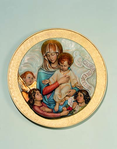 Our Lady and Child Medallion Wall Relief