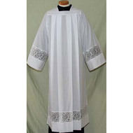4215 Clergy Alb alb, monks cloth, linen weave, mens albs, church supplies, 4215, gaiser, beau veste, alpha omega, ihs, lace,
