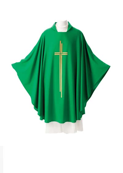 163 Esterilla Chasuble 163, 163 esterilla, chasuble, vestment, sorgente, manantial, robe, white, red, green, red, catholic chasuble, sorgento
